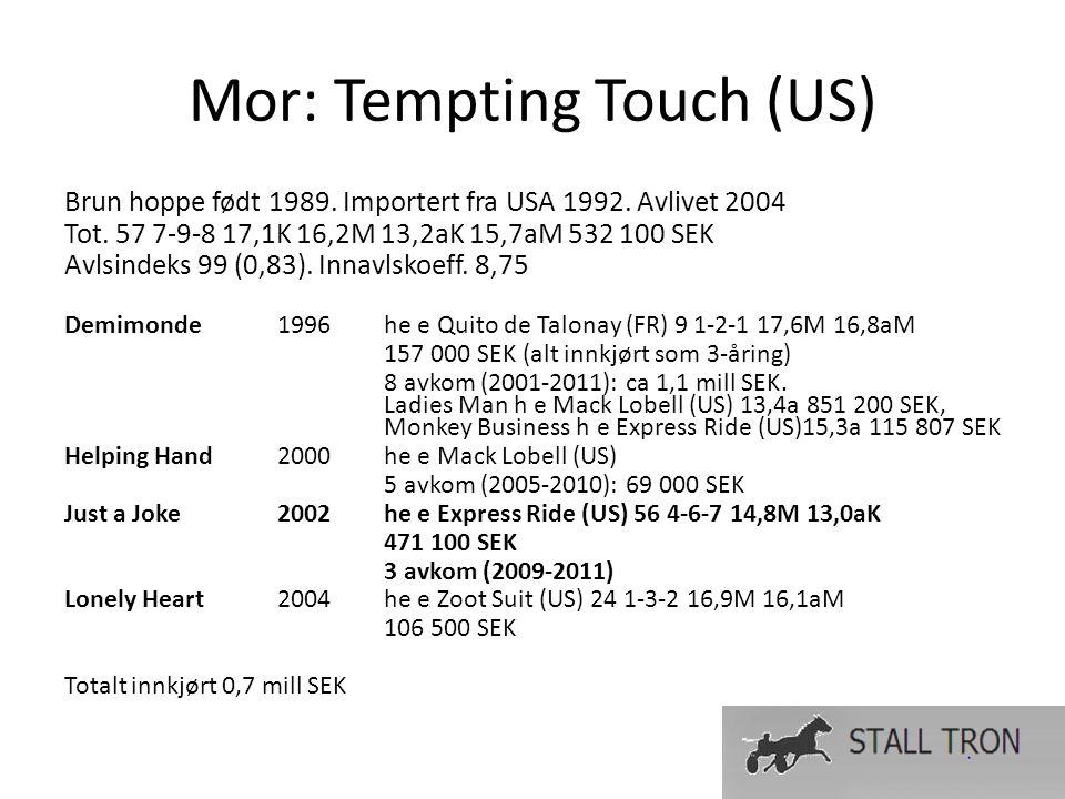 Mor: Tempting Touch (US) Brun hoppe født 1989. Importert fra USA 1992.