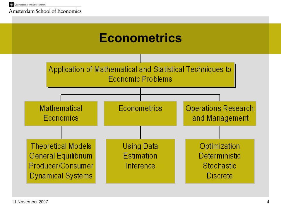 11 November 2007 4 Econometrics