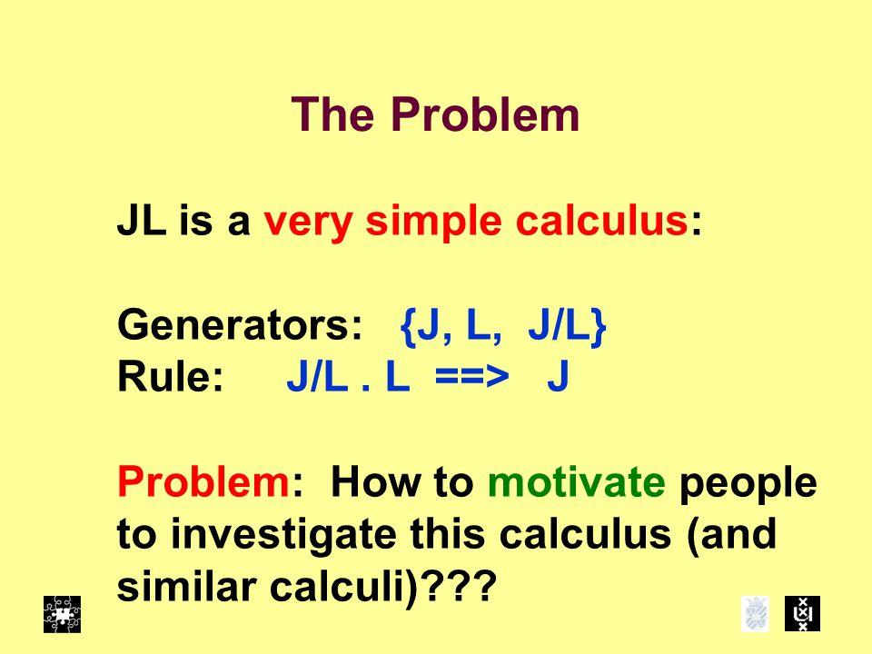 The Problem JL is a very simple calculus: Generators: {J, L, J/L} Rule: J/L.