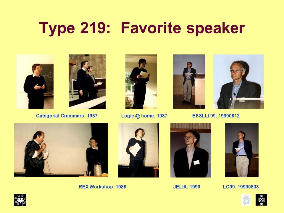 Type 219: Favorite speaker Categorial Grammars: 1987Logic @ home: 1987 REX Workshop: 1988JELIA: 1990LC99: 19990803 ESSLLI 99: 19990812