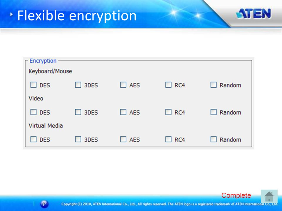 Flexible encryption Complete