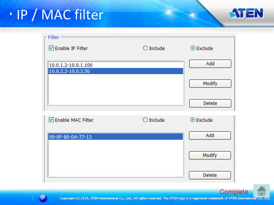 IP / MAC filter Complete