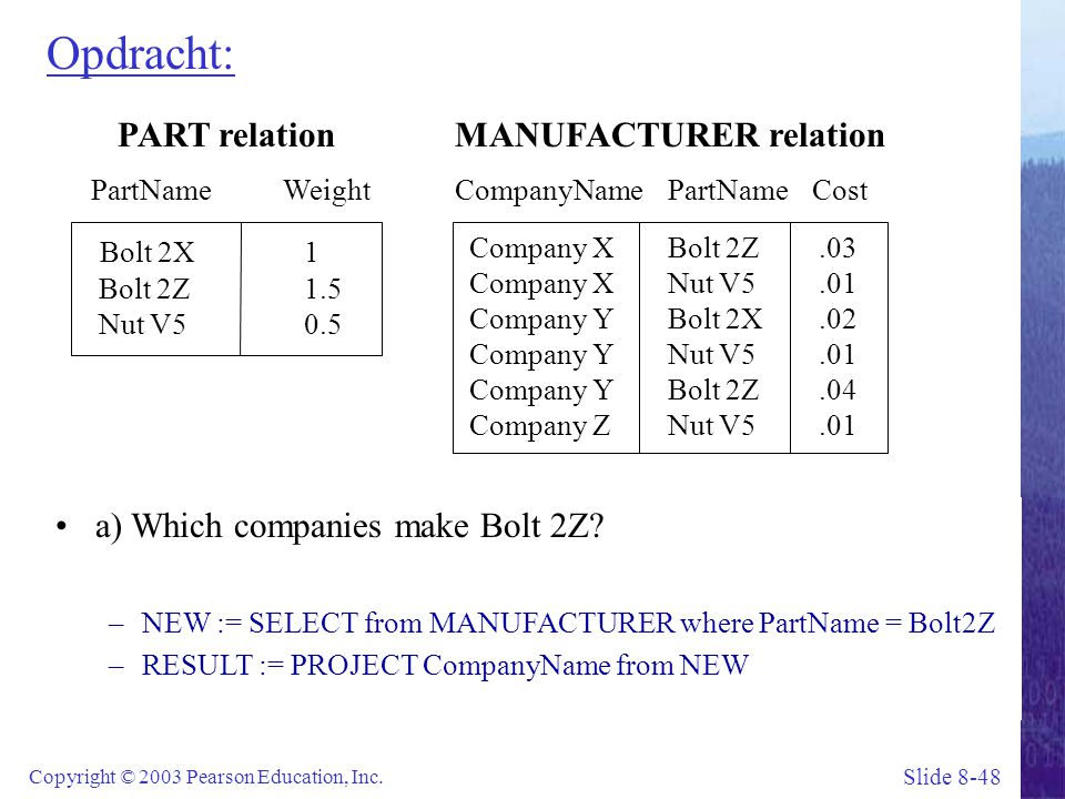 Slide 8-48 Copyright © 2003 Pearson Education, Inc. Opdracht: PART relation PartName Weight Bolt 2X1 Bolt 2Z1.5 Nut V50.5 a) Which companies make Bolt