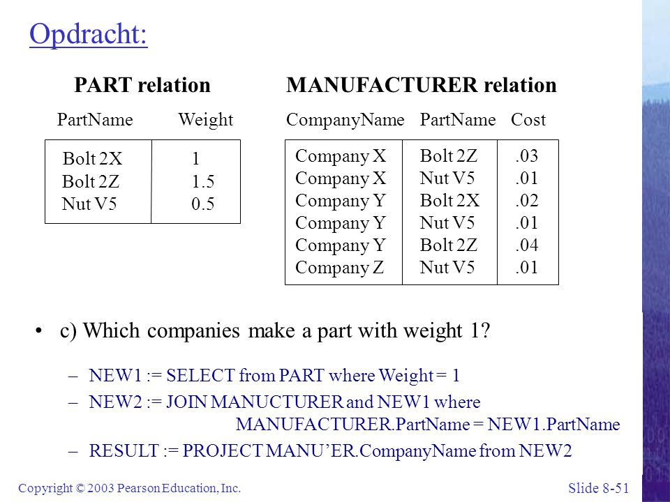Slide 8-51 Copyright © 2003 Pearson Education, Inc. Opdracht: PART relation PartName Weight Bolt 2X1 Bolt 2Z1.5 Nut V50.5 MANUFACTURER relation Compan