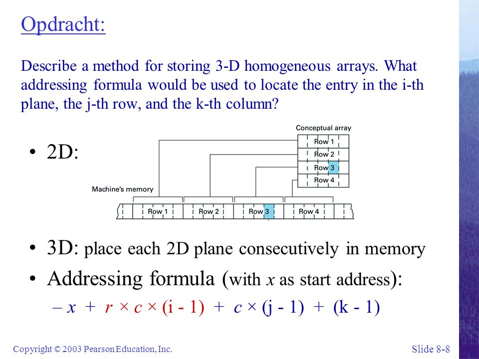 Slide 8-8 Copyright © 2003 Pearson Education, Inc. Opdracht: Describe a method for storing 3-D homogeneous arrays. What addressing formula would be us