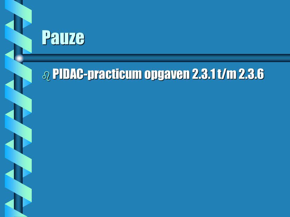 Pauze b PIDAC-practicum opgaven 2.3.1 t/m 2.3.6