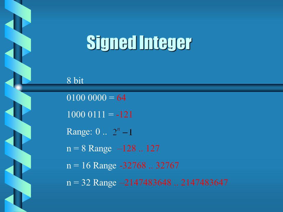 8 bit 0100 0000 = 64 1000 0111 = -121 Range: 0.. n = 8 Range –128..