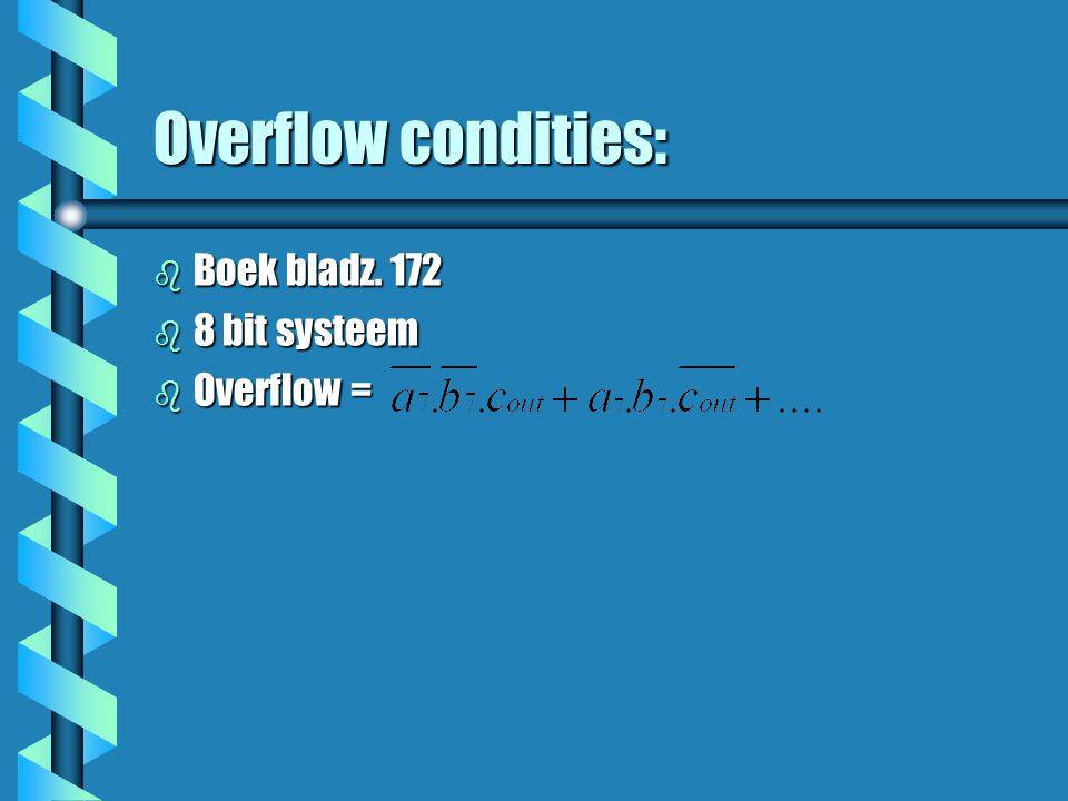 Overflow condities: b Boek bladz. 172 b 8 bit systeem b Overflow =