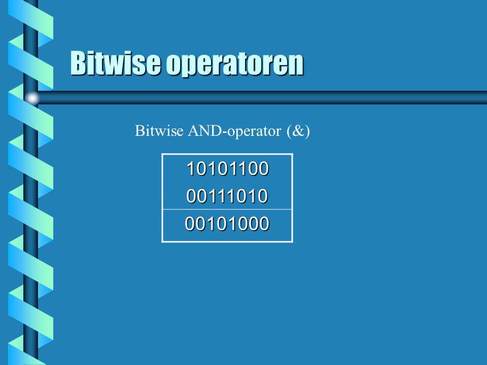 Bitwise operatoren 10101100 00111010 00101000 Bitwise AND-operator (&)