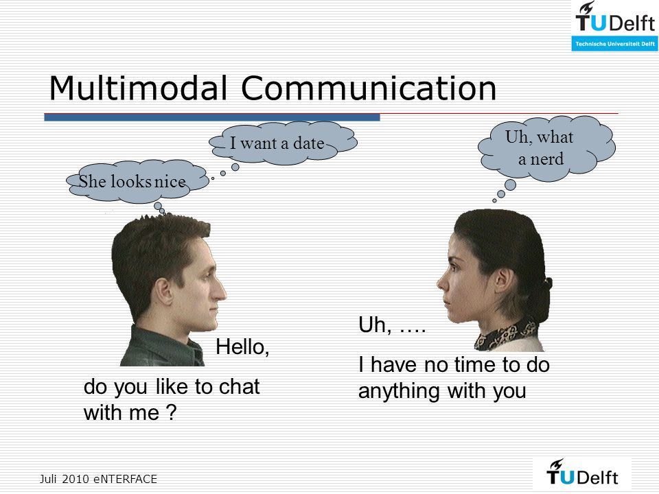 Juli 2010 eNTERFACE Multimodal Communication Uh, ….