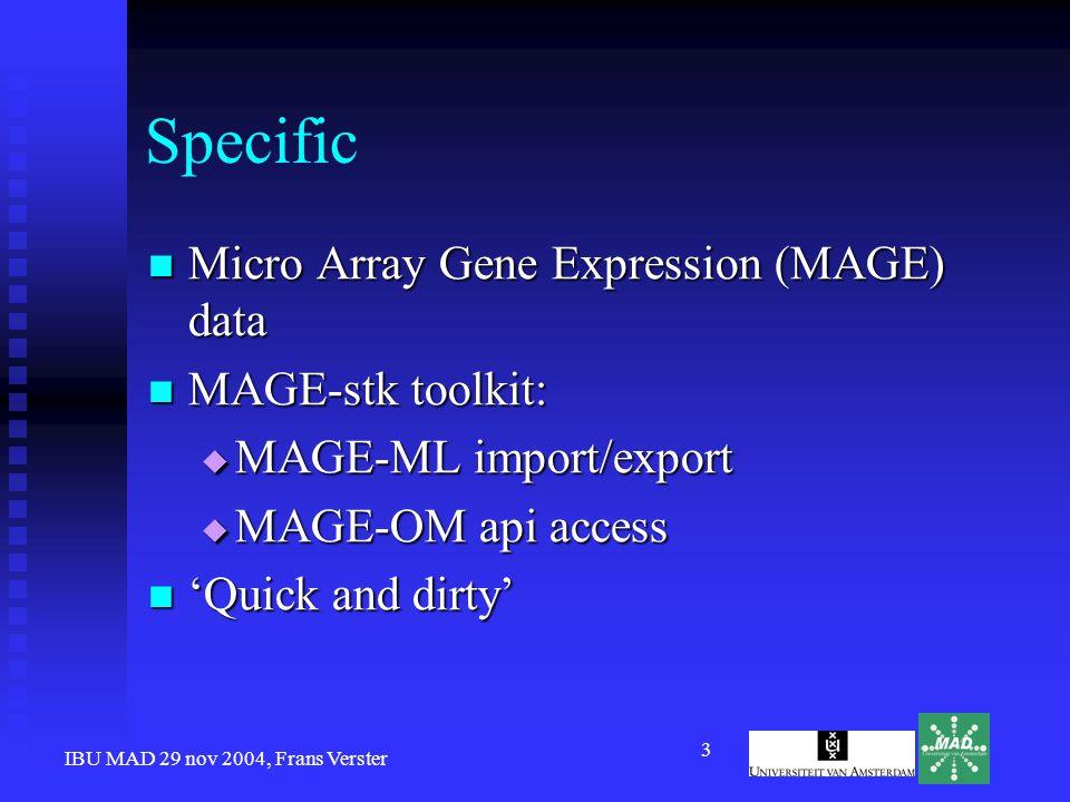 IBU MAD 29 nov 2004, Frans Verster 4 SIG Generic Tools and Methods Data Handling