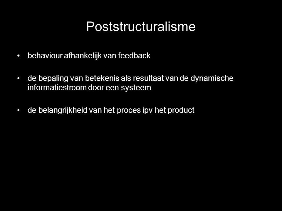 Poststructuralisme behaviour afhankelijk van feedback de bepaling van betekenis als resultaat van de dynamische informatiestroom door een systeem de b