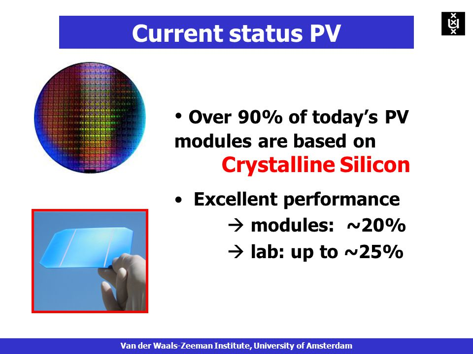 Over 90% of today's PV modules are based on Crystalline Silicon Excellent performance  modules: ~20%  lab: up to ~25% Current status PV Van der Waals-Zeeman Institute, University of Amsterdam