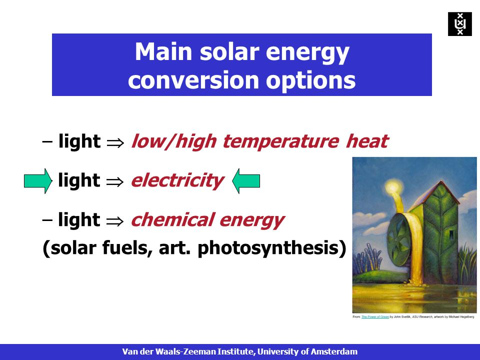 – light  low/high temperature heat – light  electricity – light  chemical energy (solar fuels, art.
