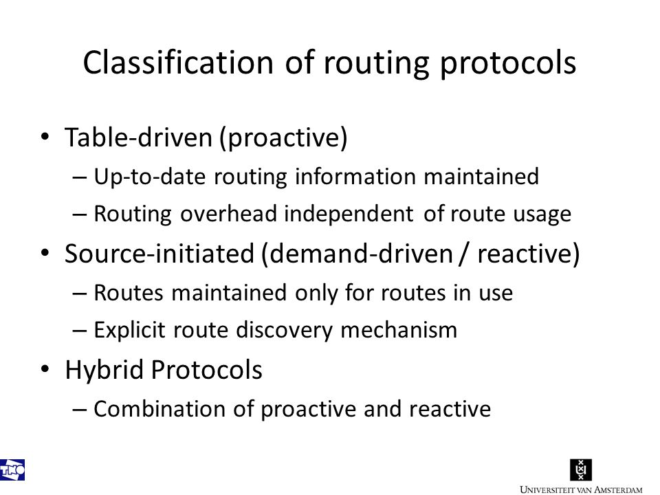 Classification (cont.) Ad Hoc Routing Protocols Table driven Source-initiated on-demand DSDV WRP AODV DSR TORAABR SSR Reactive Proactive Hybrid ZRP Hybrid OLSR CGSR