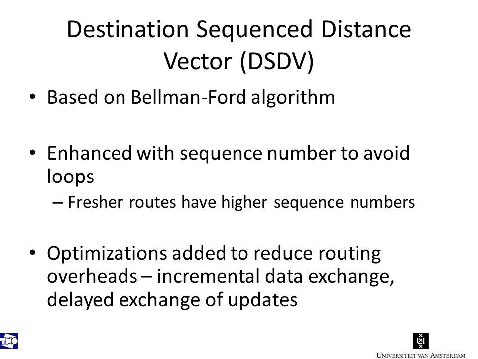 DSDV Example DestinationNextMetricSeq.