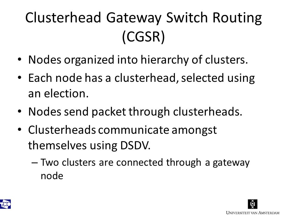 Clusterhead Gateway Switch Routing (CGSR) Nodes organized into hierarchy of clusters.