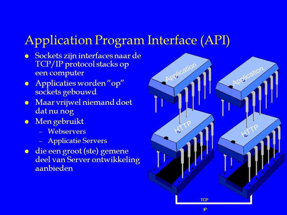 Application Program Interface (API) l Sockets zijn interfaces naar de TCP/IP protocol stacks op een computer l Applicaties worden op sockets gebouwd l Maar vrijwel niemand doet dat nu nog l Men gebruikt –Webservers –Applicatie Servers l die een groot (ste) gemene deel van Server ontwikkeling aanbieden TCP IP HTTP Application