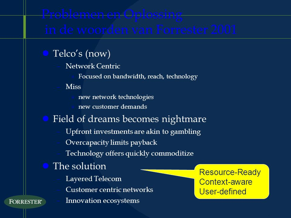 Problemen en Oplossing in de woorden van Forrester 2001 lTelco's (now) –Network Centric »Focused on bandwidth, reach, technology –Miss »new network technologies »new customer demands lField of dreams becomes nightmare –Upfront investments are akin to gambling –Overcapacity limits payback –Technology offers quickly commoditize lThe solution –Layered Telecom –Customer centric networks –Innovation ecosystems Resource-Ready Context-aware User-defined