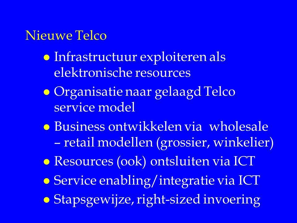 Nieuwe Telco l Infrastructuur exploiteren als elektronische resources l Organisatie naar gelaagd Telco service model l Business ontwikkelen via wholesale – retail modellen (grossier, winkelier) l Resources (ook) ontsluiten via ICT l Service enabling/integratie via ICT l Stapsgewijze, right-sized invoering