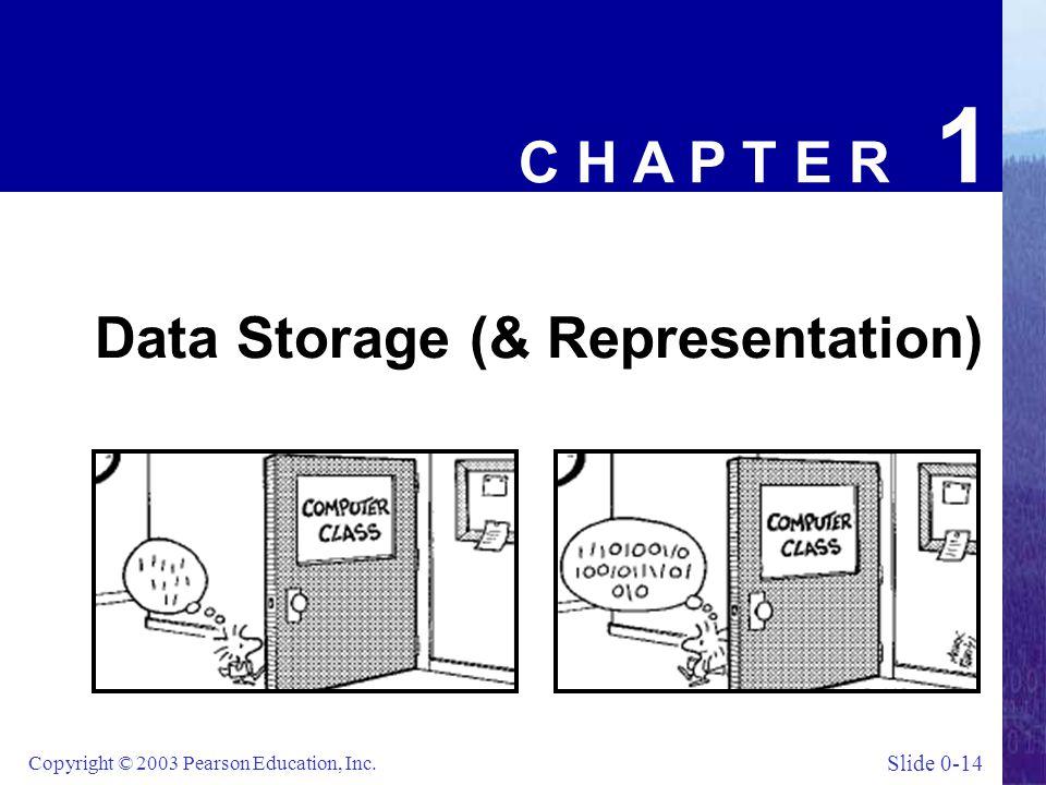Slide 0-14 Copyright © 2003 Pearson Education, Inc. C H A P T E R 1 Data Storage (& Representation)