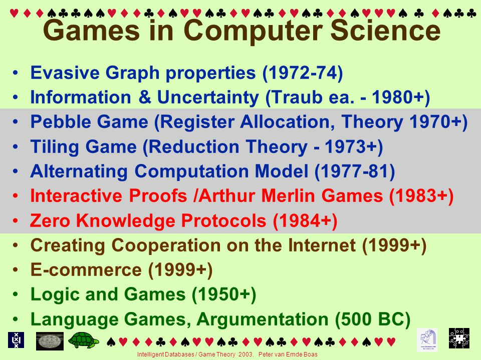   Intelligent Databases / Game Theory 2003.