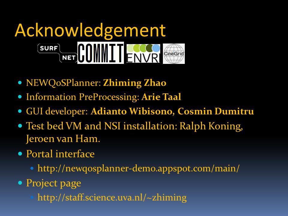Acknowledgement NEWQoSPlanner: Zhiming Zhao Information PreProcessing: Arie Taal GUI developer: Adianto Wibisono, Cosmin Dumitru Test bed VM and NSI installation: Ralph Koning, Jeroen van Ham.