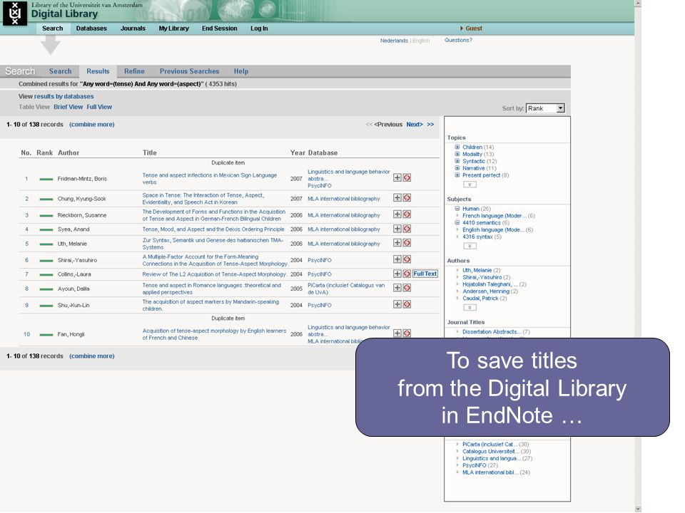 To save titles from the Digital Library in EndNote …