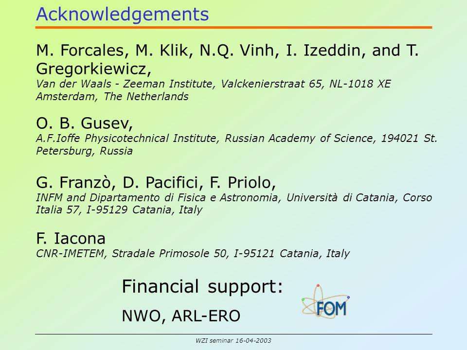WZI seminar 16-04-2003 M. Forcales, M. Klik, N.Q. Vinh, I. Izeddin, and T. Gregorkiewicz, Van der Waals - Zeeman Institute, Valckenierstraat 65, NL-10