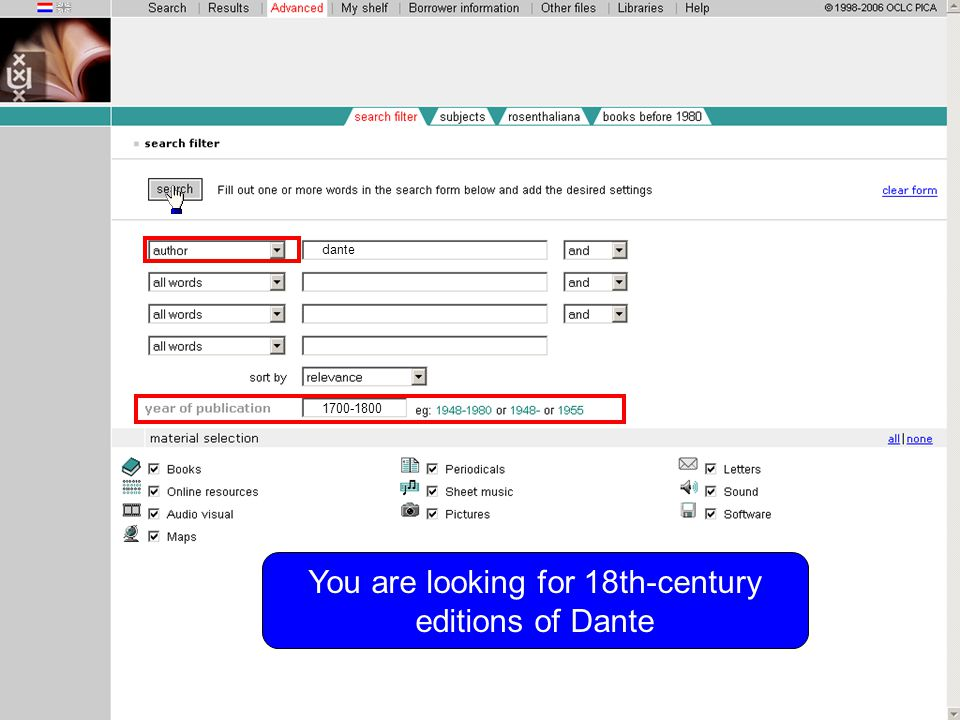 You are looking for 18th-century editions of Dante dante 1700-1800
