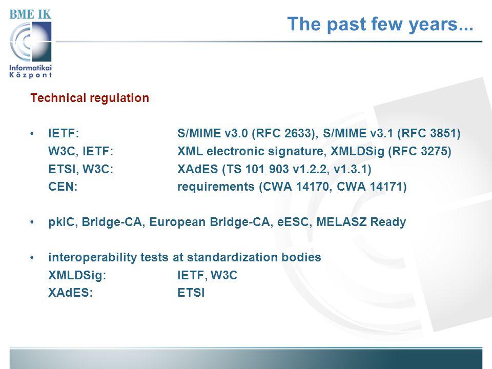 The past few years... Technical regulation IETF:S/MIME v3.0 (RFC 2633), S/MIME v3.1 (RFC 3851) W3C, IETF:XML electronic signature, XMLDSig (RFC 3275)