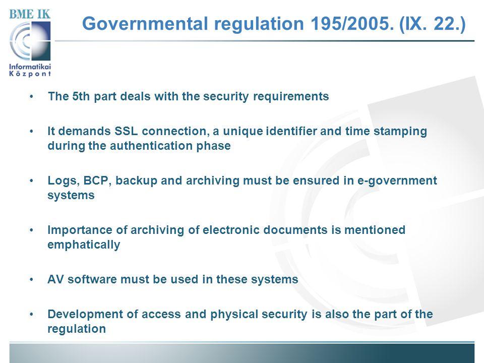 Governmental regulation 195/2005.(IX.