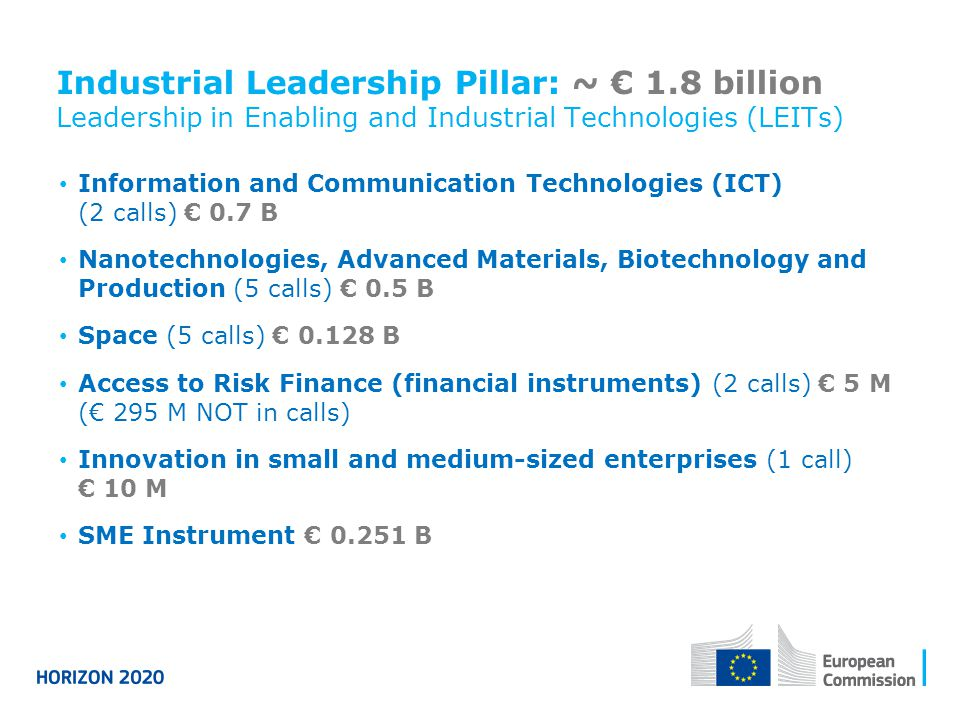 Industrial Leadership Pillar: ~ € 1.8 billion Leadership in Enabling and Industrial Technologies (LEITs) Information and Communication Technologies (I