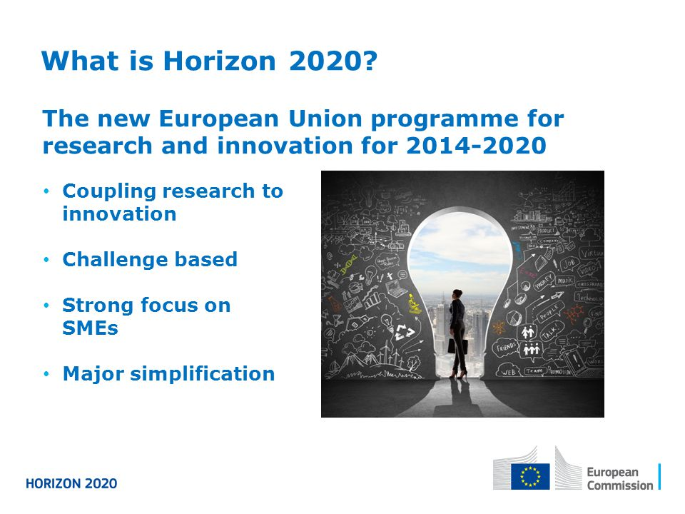 What is Horizon 2020? Coupling research to innovation Challenge based Strong focus on SMEs Major simplification The new European Union programme for r