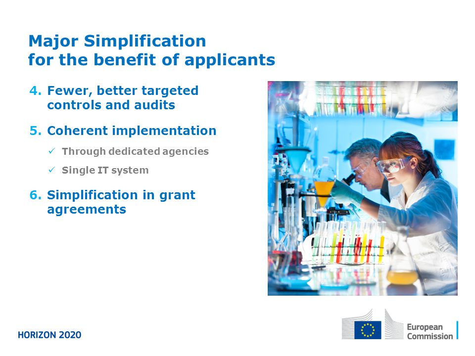 Major Simplification for the benefit of applicants 4.Fewer, better targeted controls and audits 5.Coherent implementation Through dedicated agencies S