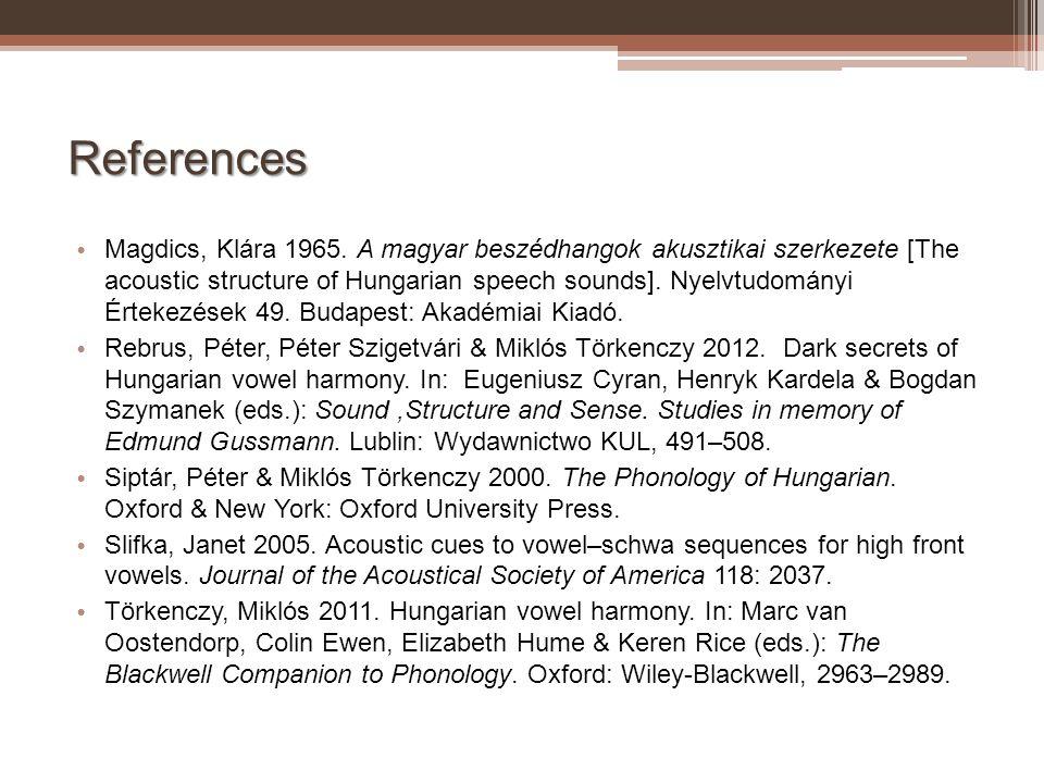 References Magdics, Klára 1965. A magyar beszédhangok akusztikai szerkezete [The acoustic structure of Hungarian speech sounds]. Nyelvtudományi Érteke