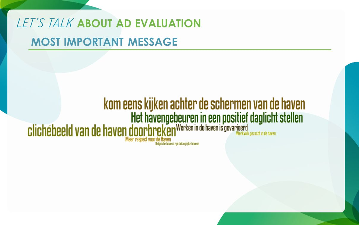 ABOUT AD EVALUATION MOST IMPORTANT MESSAGE