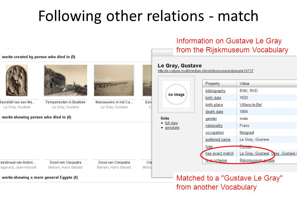 Following other relations - match Information on Gustave Le Gray from the Rijskmuseum Vocabulary Matched to a