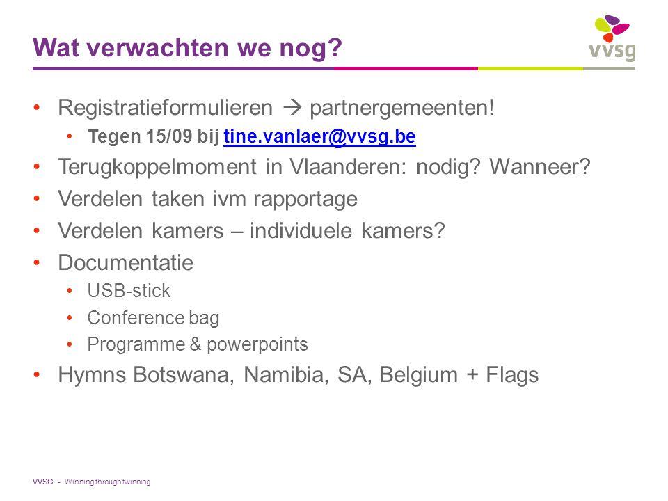 VVSG - Wat verwachten we nog. Registratieformulieren  partnergemeenten.