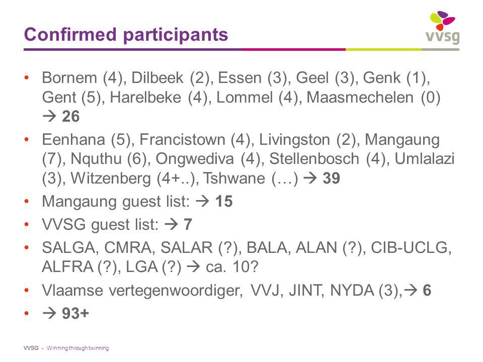 VVSG - Confirmed participants Bornem (4), Dilbeek (2), Essen (3), Geel (3), Genk (1), Gent (5), Harelbeke (4), Lommel (4), Maasmechelen (0)  26 Eenhana (5), Francistown (4), Livingston (2), Mangaung (7), Nquthu (6), Ongwediva (4), Stellenbosch (4), Umlalazi (3), Witzenberg (4+..), Tshwane (…)  39 Mangaung guest list:  15 VVSG guest list:  7 SALGA, CMRA, SALAR ( ), BALA, ALAN ( ), CIB-UCLG, ALFRA ( ), LGA ( )  ca.