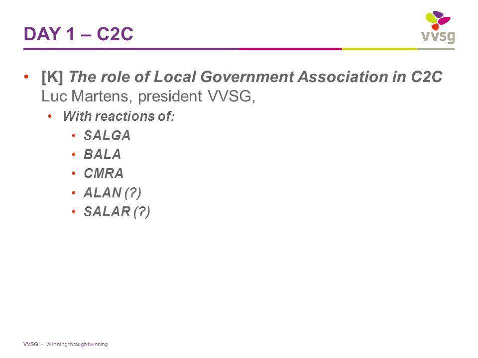 VVSG - DAY 1 – C2C [K] The role of Local Government Association in C2C Luc Martens, president VVSG, With reactions of: SALGA BALA CMRA ALAN ( ) SALAR ( ) Winning through twinning