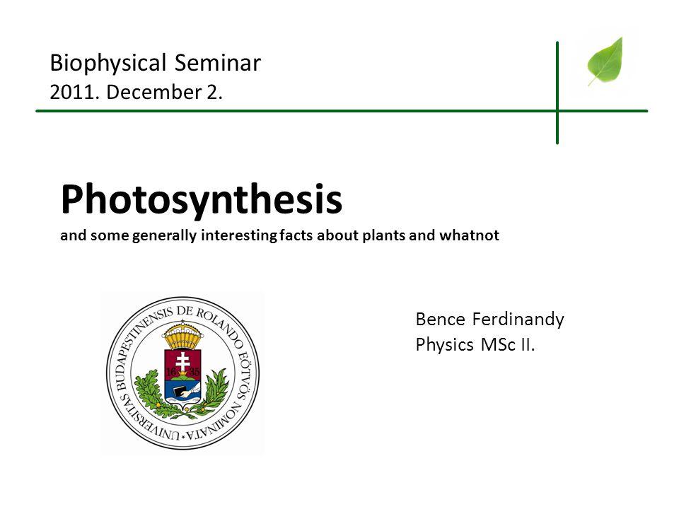Bence Ferdinandy – Biophysics Seminar 2011. december 2. Introduction