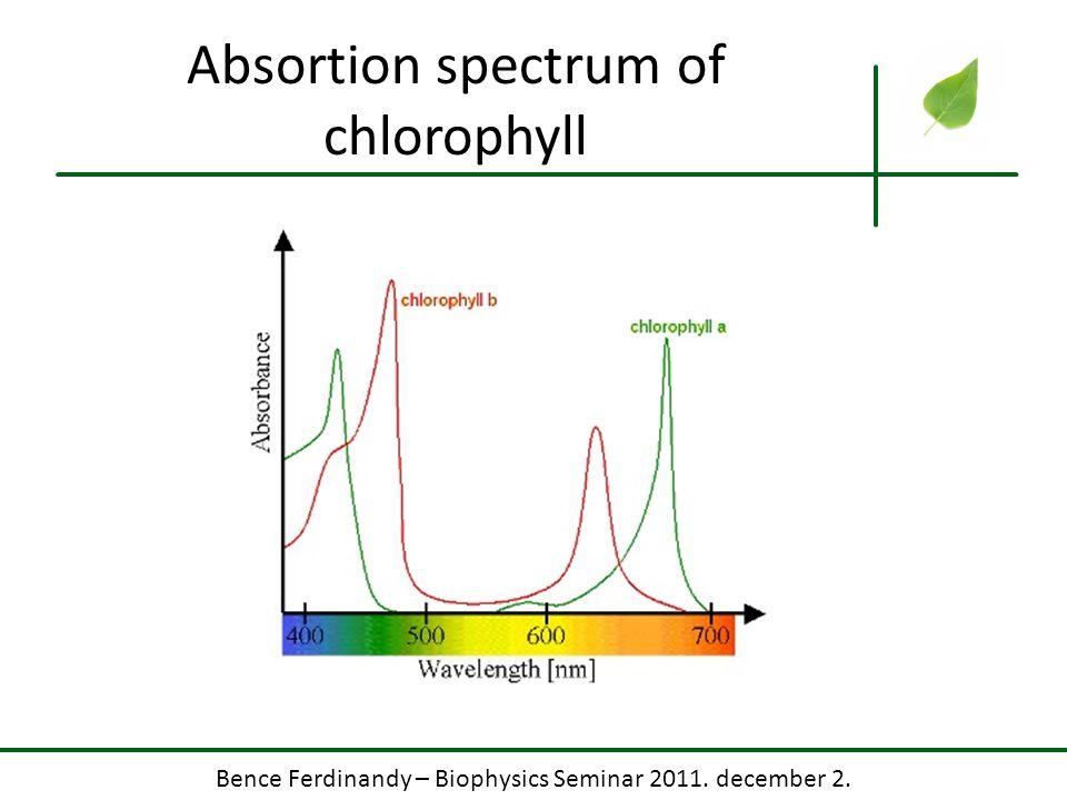 Bence Ferdinandy – Biophysics Seminar 2011. december 2. Absortion spectrum of chlorophyll