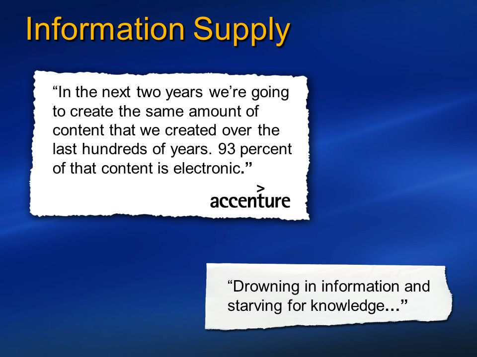 """Information Supply """"In the next two years we're going to create the same amount of content that we created over the last hundreds of years. 93 percent"""