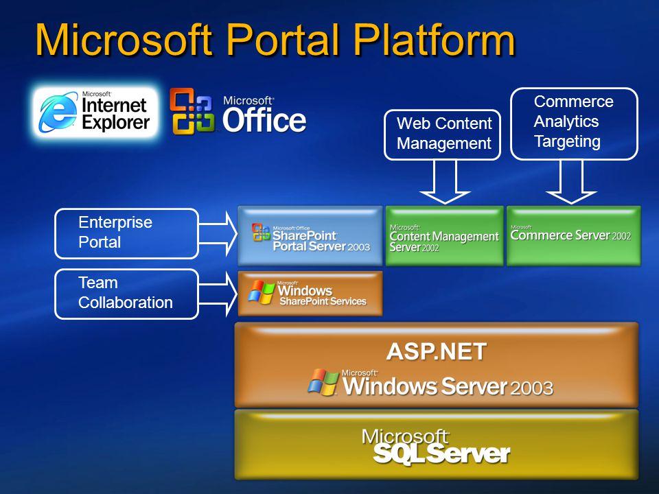 Microsoft Portal Platform Team Collaboration Enterprise Portal Web Content Management Commerce Analytics Targeting