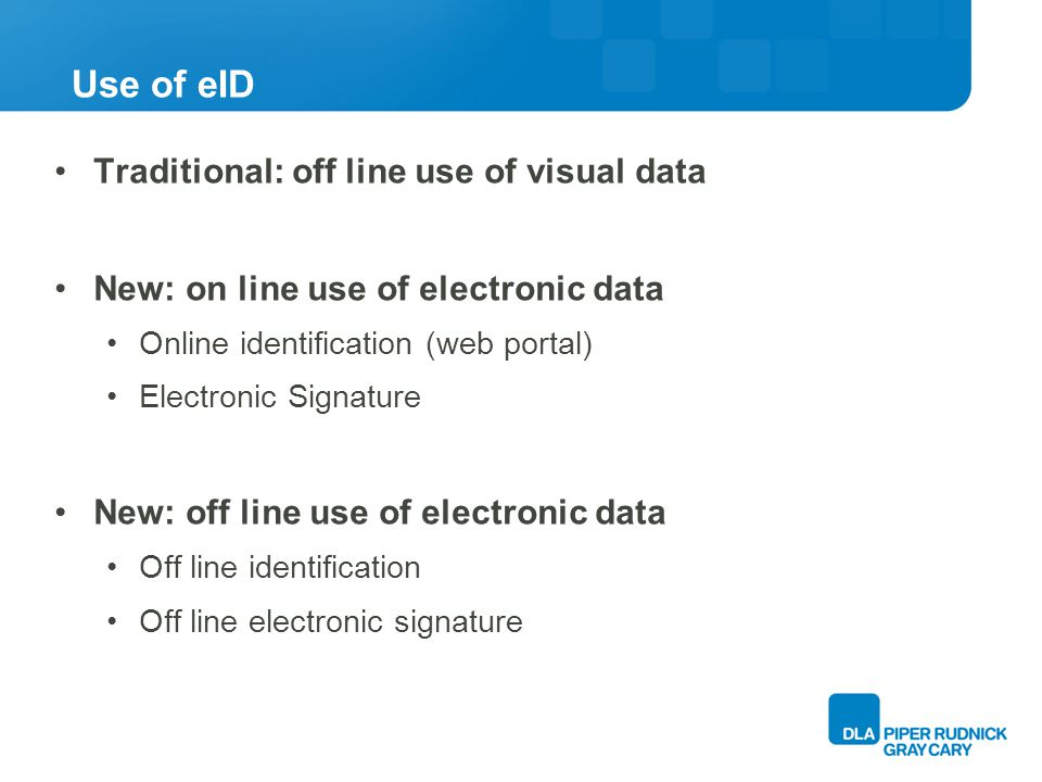 Use of eID Traditional: off line use of visual data New: on line use of electronic data Online identification (web portal) Electronic Signature New: off line use of electronic data Off line identification Off line electronic signature