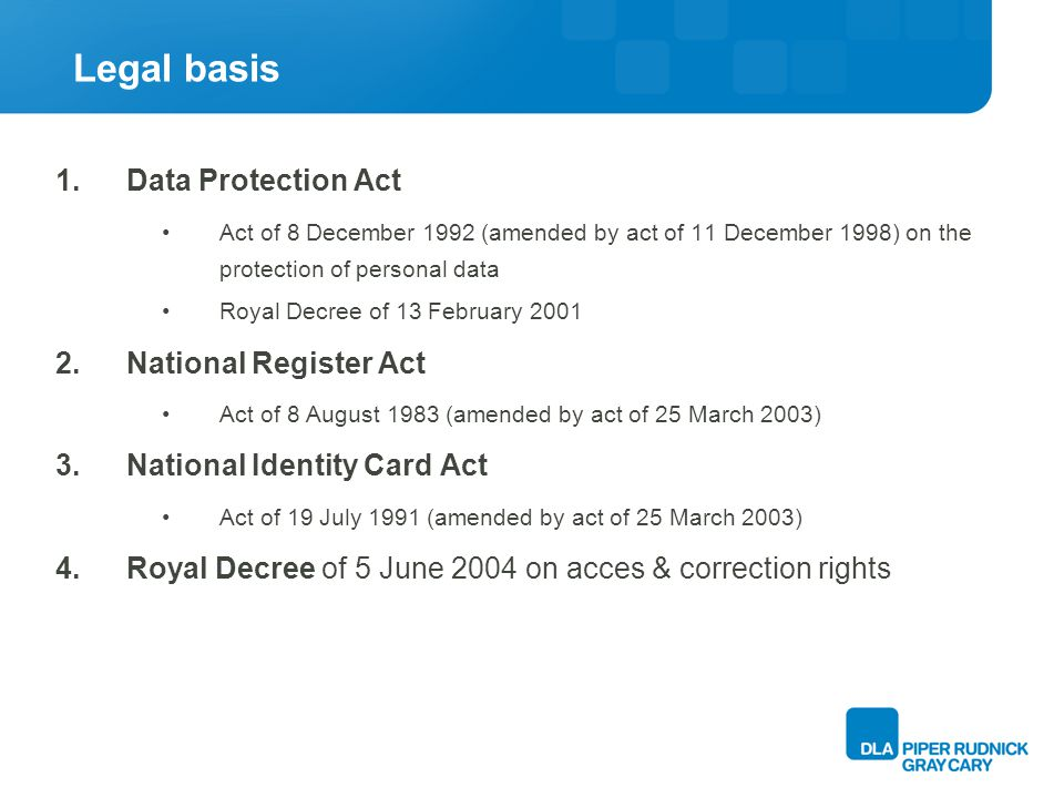 Legal basis 1.Data Protection Act Act of 8 December 1992 (amended by act of 11 December 1998) on the protection of personal data Royal Decree of 13 February 2001 2.National Register Act Act of 8 August 1983 (amended by act of 25 March 2003) 3.National Identity Card Act Act of 19 July 1991 (amended by act of 25 March 2003) 4.Royal Decree of 5 June 2004 on acces & correction rights