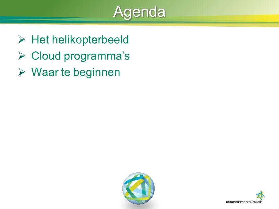 Agenda  Het helikopterbeeld  Cloud programma's  Waar te beginnen
