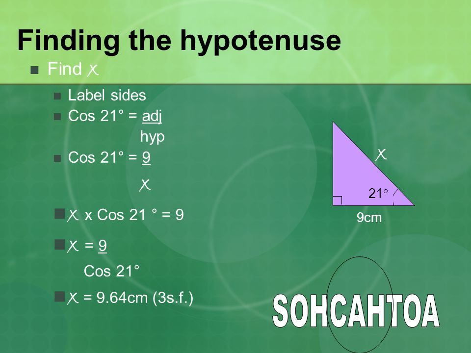 Finding the hypotenuse Find x Label sides Cos 21° = adj hyp Cos 21° = 9 x x x Cos 21 ° = 9 x = 9 Cos 21° x = 9.64cm (3s.f.) 21° 9cm x