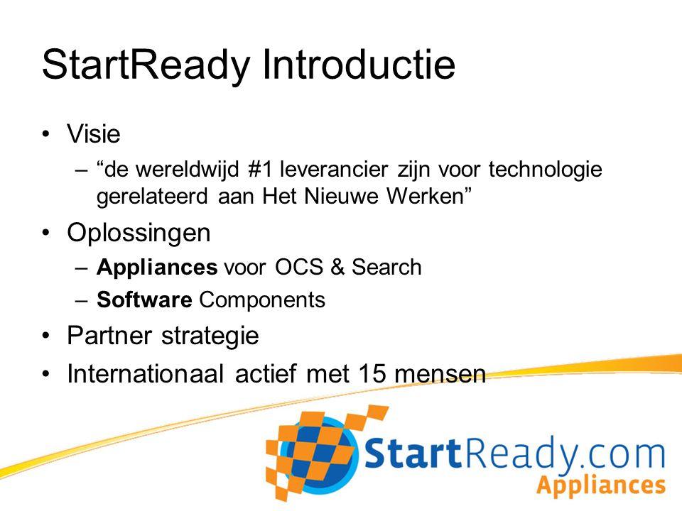 StartReady resultaten Overview 3 jaar operationeel, 400% groei Q1-2010 Office in NL, USA en Duitsland 60+ klanten in NL, BE, DE, CH, AU, UK & USA –Focus op MidMarket / Volume 20+ Partners –Telecom –IT –Dynamics / ISV
